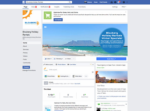 Facebook Marketing and Advertising for Blouberg Holiday Rentals.