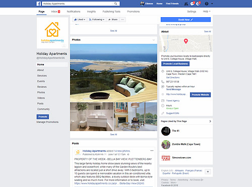 Facebook Management for Holiday Apartments.