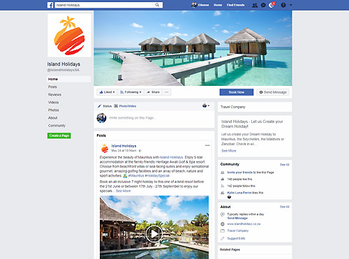 Facebook Advertising including Videos for Island Holidays