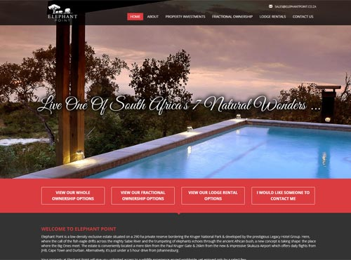 CMS Website Designed and SEO for Elephant Point