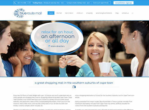 WordPress CMS Responsive Website Designed for Blue Route Shopping Mall