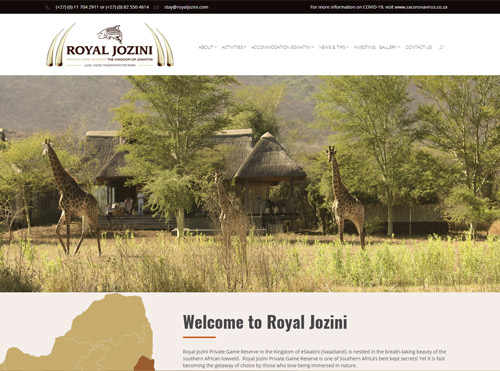 Game Reserve and Accommodation Website in Kingdom of Eswatini